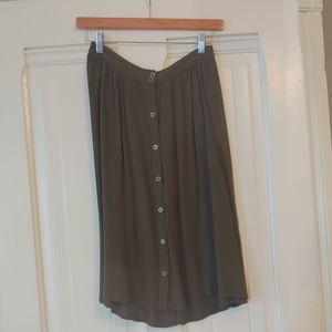 Olive mid-length skirt